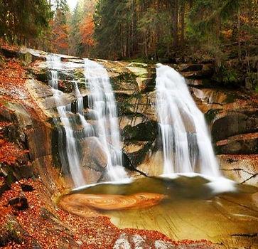 Mumlava waterfall in Krkonoše mountains (East Bohemia), Czechia