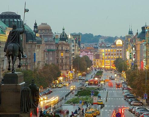 Wenceslas Square (Václavské náměstí) from National Museum, Prague, Czechia