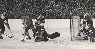 Czechoslovakia-Sweden 3-0 in final of WCH 1949 (Bohumil Modrý saves the puck)