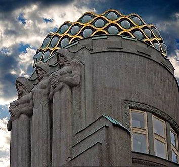 The dome of Koruna palace in late Art Nouveau style, Wenceslas square, Prague, Czechia
