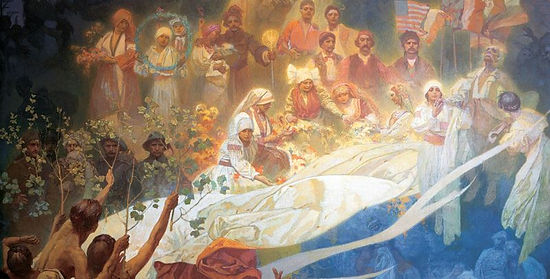 Alfons Mucha - The Slav Epic / Apotheose (1926-8). Last part of the cycle (fragment) - art of Czechia