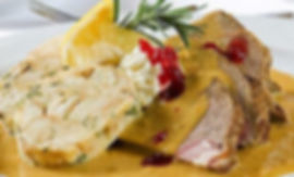 Cuisine of Czechia: Czech sirloin with cream, dumlings, cranberries and lemon