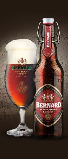"""Bernard"" amber BERNARD dark beer from Humpolec (South Bohemia), Czechia. Two of Bernard dark beers (Amber and Special) became winners and holders of gold medals of World Beer Championships in 2011 in USA."