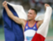 Decathlonist Roman Šebrle celebrates hisGold medal in Athens 2004