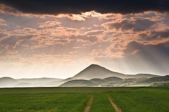 Milešovka, the highest peak of Bohemian Middle-Highlands, Czechia