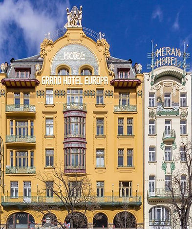 Hotels Evropa and Central in Art Nouveau style at Wenceslas Square