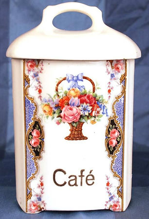Vintage 1940's, Czechia: Porcelain Cafe Canister