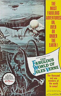 "American poster of famous Karel Zeman's film Vynález zkázy (A Deadly Invention), presented as ""The Fabulous World Of Jules Verne"""