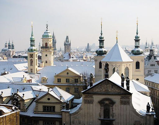 Old Town under the snow, Prague, Czechia