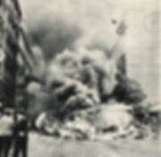 Burning barricade in front of Czechoslovak radio building, 21st August.1968