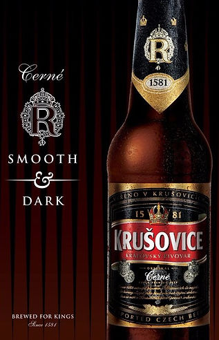 Krušovice dark beer from King's brewery of the village of the same name in Central Bohemia, Czechia