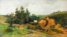Adolf Kosárek - Landscape with the carriage - art of Czechia