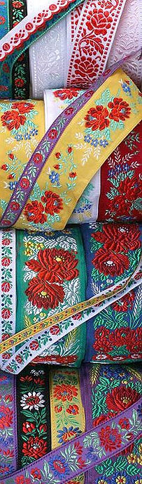 Authentic folkloric fabric jacquard ribbon trims from Czechia and Slovakia