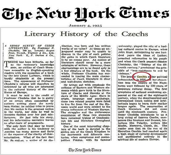 Czechia in New York Times 1925