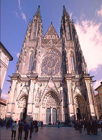 Western towers of St.Vitus cathedral, Prague, Czechia