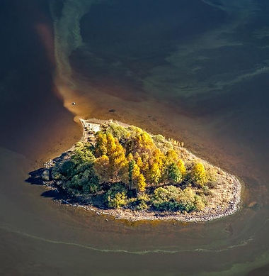 """Tajvánek"" island in Lipno dam lake (South Bohemia), Czechia"