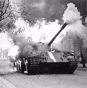 Burning Soviet tank, 21st August.1968
