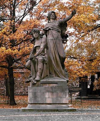 The statue of Přemysl and princess Libuše in Vyšehrad park by J.V.Myslebek, Prague, Czechia