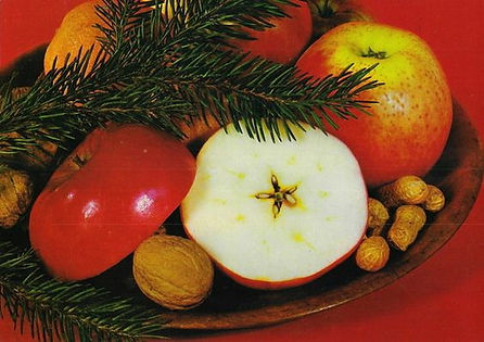Czech Christmas tradition - cutting the apple to see a star from the seeds (symbol of health) - Czechia