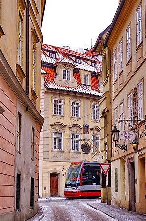 Tram in winter Lesser Town of Prague, Czechia
