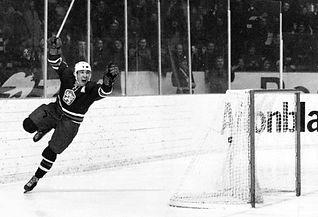 Josef Černý celebrates his goal in Soviet netto 2-0in the first of memorable gameson1969 World Championship