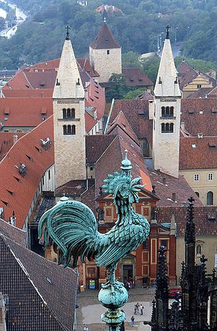 St. George's Basilica from the tower of St.Vitus cathedral, Prague, Czechia