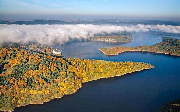Orlík dam with the castle of the same name (South Bohemia), Czechia