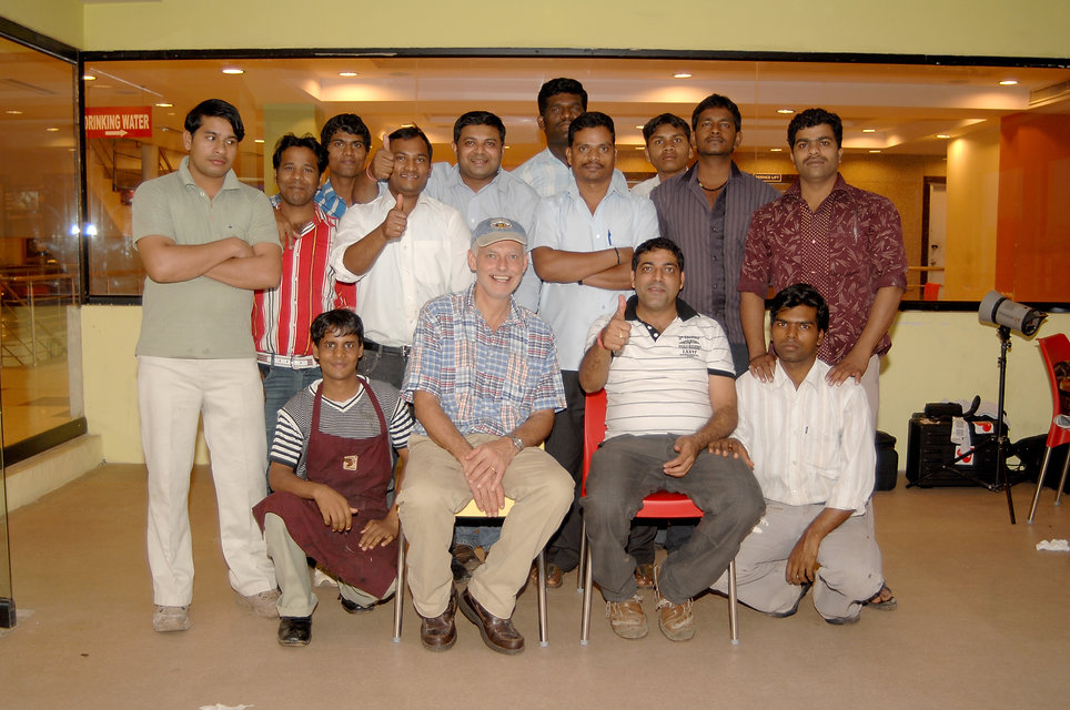 Maurice Chaplais Artisan Bakery Consultant with the team at Breadworks Bangalore,