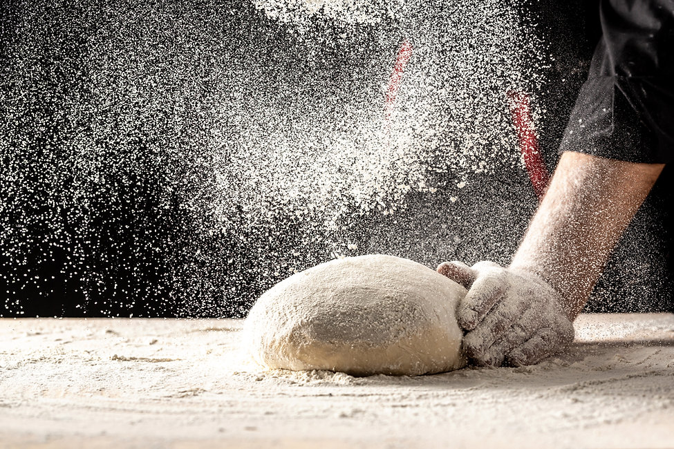 Photo of flour and men hands with flour