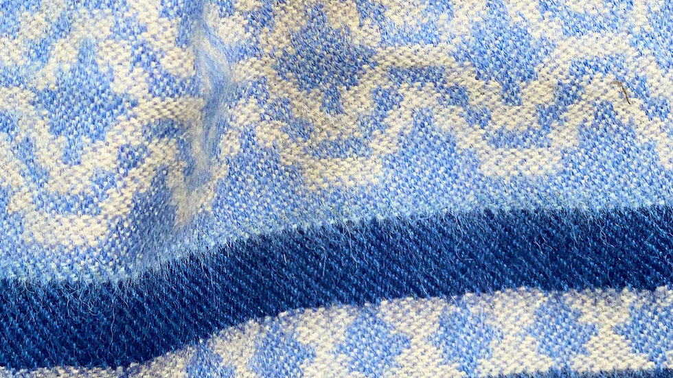 Blue Alpaca Scarf With Fringe