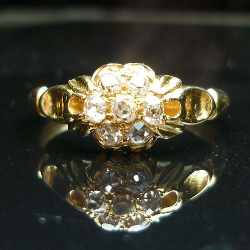 Stunning Victorian 18ct gold Old Cut diamond cluster ring.