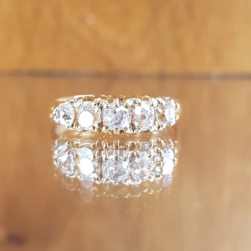 Stunning Victorian 18ct gold 1.50ct 5 Old cut diamond ring