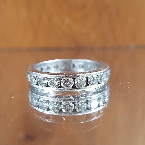 Stunning Quality Platinum diamond full eternity ring 2.10ct size P 6.5g
