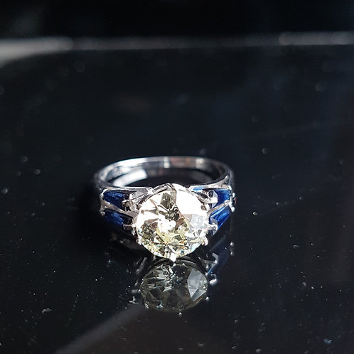 Exquisite Platinum 1.91ct OLD CUT solitaire diamond 0.69c Sapphire Estate piece