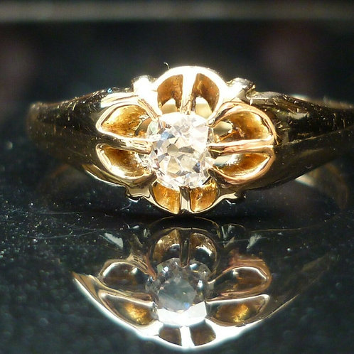 Stunning 18ct gold Victorian C1899 0.35ct Old Cut solitaire diamond solitaire