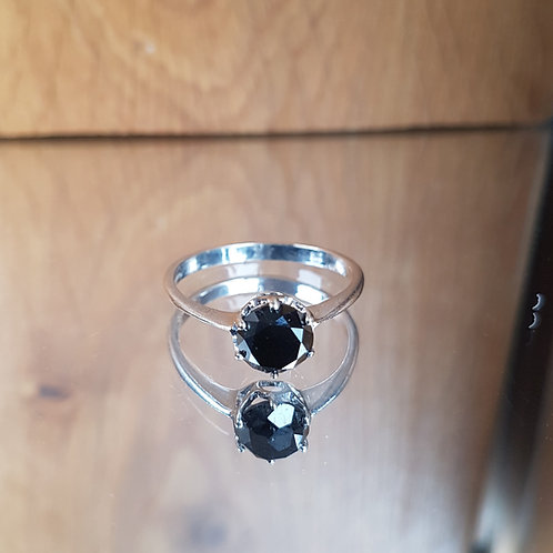 White gold HUGE 1.80ct Brilliant fancy Black solitaire diamond ring