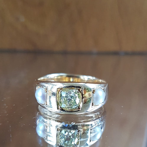 Stunning Victorian 18ct gold Fancy Yellow Old mine cut diamond 0.80ct & Pearl
