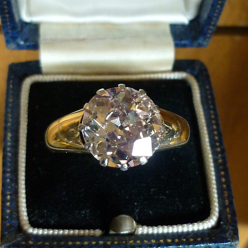 Exquisite 18ct Gold & Platinum 5.35ct OLD CUT solitaire diamond Heritage ring