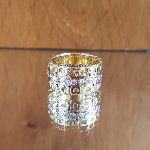 Stunning VERY HEAVY 18ct gold 1.50ct diamond eternity nugget ring 13.35g