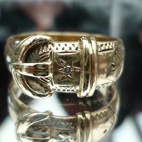 Stunning Heavy 9ct gold Edwardian C1903 diamond Buckle ring