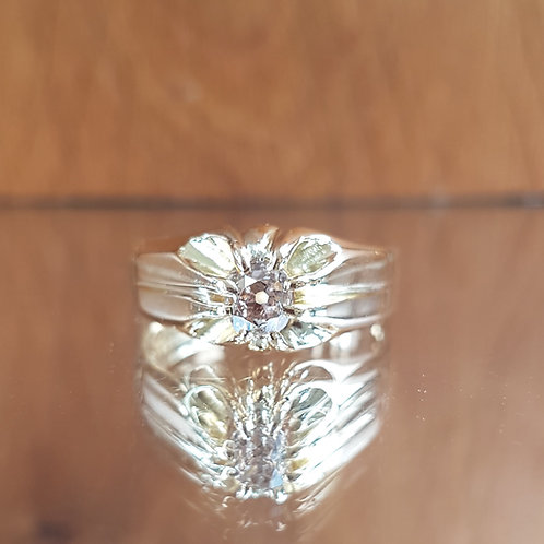 Stunning 18ct Gold 0.60ct OLD CUT solitaire PINK diamond ring