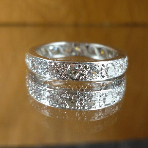 Stunning Platinum French 1.50ct Diamond full eternity ring size K 1/2