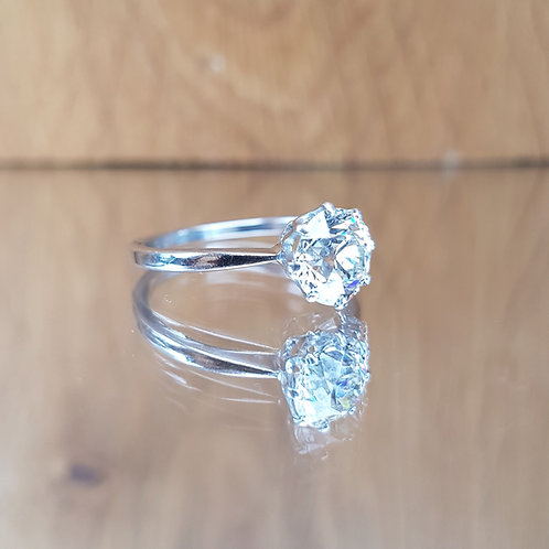 Exquisite Platinum 1.75ct OLD CUT solitaire diamond ring Free sizing