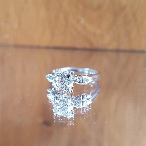 Stunning Platinum 1.0ct Old cut solitaire diamond ring