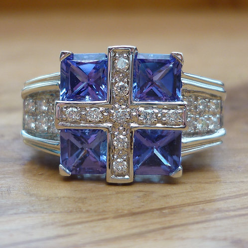 Stunning HEAVY 14ct white gold 2.3ct Amethyst and 1ct diamond ring FREE SIZING