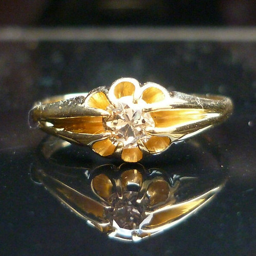 Stunning Edwardian 18ct gold Old cut solitaire diamond ring