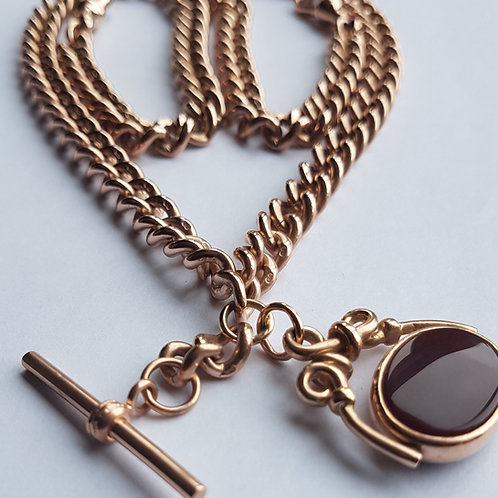 HEAVY Antique 9Ct Rose Gold Curb Link Double Albert Watch Chain, 86.75g