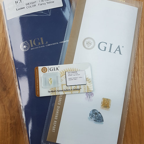 GIA and IGL Certified 1ct Natural Yellow Cut Loose Pear cut Diamond RRP £11900