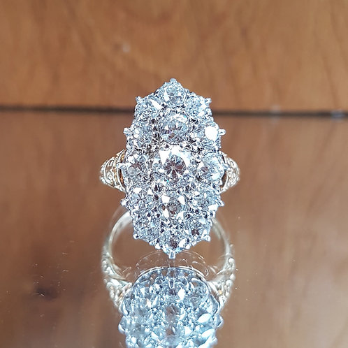 Exquisite 18ct gold 4.60ct Victorian Old Cut diamond Marquise ring INVESTMENT