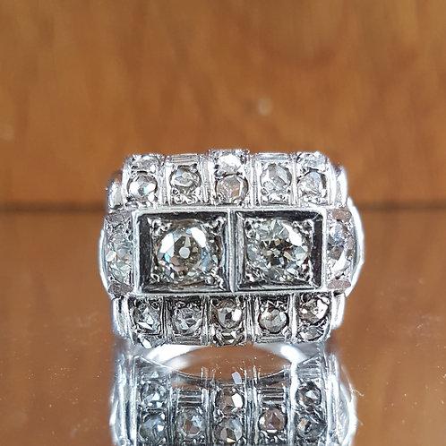 Stunning HEAVY Platinum Art Deco 2.4ct Old cut diamond ring
